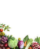 Organic food background. Food photography different fruits and vegetables. Isolated white background. Copy space. High resolution product Stock Photo