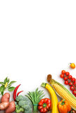 Organic food background. Food photography different fruits and vegetables. Isolated white background. Copy space. High resolution product royalty free stock images