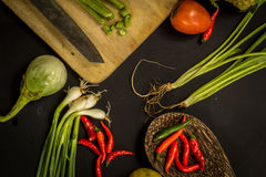 Organic, food, background, fresh, market, summer, wood, design, cook, wooden. Healthy food ingredients background. Vegetables, herbs and spices. Organic Stock Image