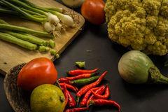 Organic, food, background, fresh, market, summer, wood, design, cook, wooden. Healthy food ingredients background. Vegetables, herbs and spices. Organic Stock Photography