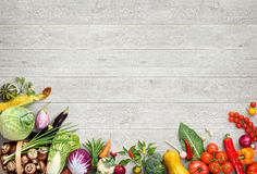 Organic food background. Studio photo of different fruits and vegetables Stock Photo