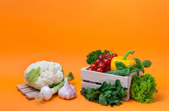 Organic food background Vegetables in the basket Stock Images
