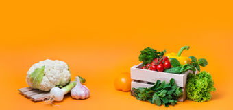 Organic food background Vegetables in the basket Royalty Free Stock Photos