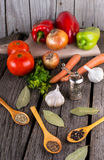 Organic food background Vegetables pepper mill Royalty Free Stock Photo