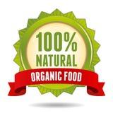 Organic food badge. 100 percent natural green sign with red ribbon Stock Image