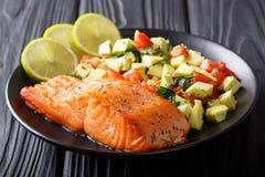 Organic food: baked wild salmon steak and fresh vegetable salad stock photos