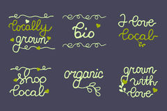 Organic food banner, logo, icons collection. Royalty Free Stock Images