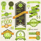 Organic food banners. Set of labels and stickers Stock Photography