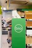 Organic food (bio) aisle in store Royalty Free Stock Photo