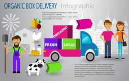 Organic food box delivery infographic concept. Vector Stock Photography