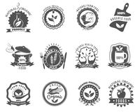 Organic food brands labels templates set black. Eco organic food brands emblems for best quality products black icons set abstract  vector illustration Royalty Free Stock Photography