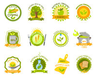 Organic food brands labels templates set flat Royalty Free Stock Images