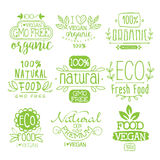 Organic Food Calligraphic Label Set. Of Monochrome Vector Design Labels On White Background Stock Photo