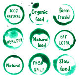 Organic Food collection of round watercolor. Organic Food collection of round watercolor stains with natural, 100%, eat local, farm fresh, organic food, healthy Stock Images