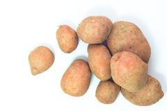 Organic food concept top view fresh red potatoes on white background Royalty Free Stock Photo