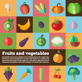 Organic food concept vector background. Fruits and Vegetables back. Vector illustration of dietary products. Used for print and web design Royalty Free Stock Photography