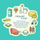 Organic food vector illustration in linear style Royalty Free Stock Photography