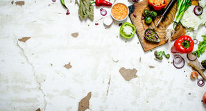 Organic food. Cutting Board with vegetables and herbs. Stock Photography