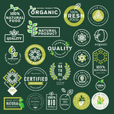 Organic food and drink icons and elements set. Vector illustrations for restaurant, food market, e-commerce, organic products promotion, healthy life and premium Royalty Free Stock Image