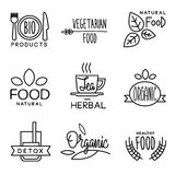 Organic Food and Drink Label. Set of badges and labels elements for organic food and drink Royalty Free Stock Images