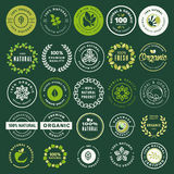 Organic food and drink labels and elements set. Vector illustrations for restaurant, food market, e-commerce, organic products promotion, healthy life and Stock Image