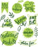 Organic food, farm fresh and natural product labels and badges collection in vector. Organic food, farm fresh and natural product labels and badges collection Royalty Free Stock Images
