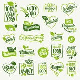 Organic food, farm fresh and natural product labels and badges collection Stock Photography