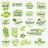 Organic food, farm fresh and natural product signs and elements collection Stock Photos