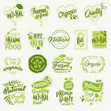 Organic food, farm fresh and natural product stickers and labels collection Royalty Free Stock Image