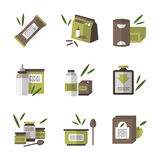 Organic food flat color icons Royalty Free Stock Photography