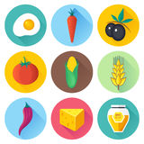 Organic Food Flat Icon Set Royalty Free Stock Images