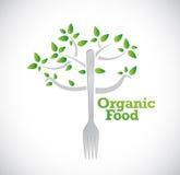 Organic food fork tree illustration Stock Images