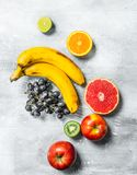 Organic food. Fresh fruit. On a rustic background royalty free stock images