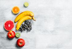 Organic food. Fresh fruit. On a rustic background royalty free stock photography