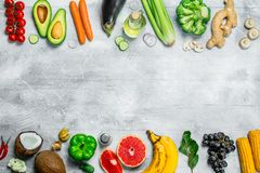 Organic food. Fresh organic fruits and vegetables stock images