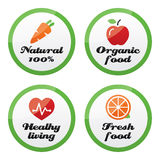 Organic food, fresh and natural products icons on Stock Photography