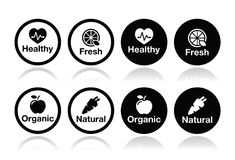 Organic food, fresh and natural products icons set Royalty Free Stock Images