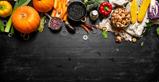 Organic food. Fresh vegetables with mushrooms and black beans. stock photo
