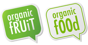 Organic food & fruit labels Royalty Free Stock Images