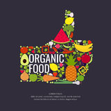 Organic food. Fruits and vegetables. Vector illustration of organic food. Fruits and vegetables in the Hand. A symbol of good quality products Royalty Free Stock Photography