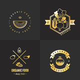 Organic food gold logo vintage vector set. Part one. Stock Photo