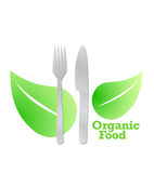 organic food graphic fork and leaves. Royalty Free Stock Photo
