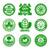 Organic Food Green Labels Set. Vector Royalty Free Stock Photo