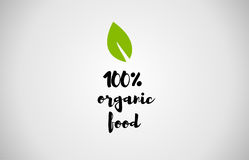 100% organic food green leaf handwritten text white background. 100% organic food text green leaf black white logo vector creative company icon design template vector illustration