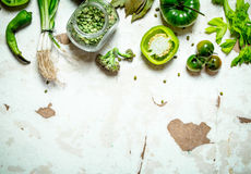 Organic food. Green vegetables with dried peas. Royalty Free Stock Photo