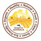 Organic food grown in Australia. Buy Fresh, buy Green - printable stamp with the Australian map Stock Image