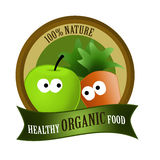 Organic food healthy. Healthy organic food label with cartoon vegetables and fruits Royalty Free Stock Photos