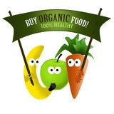 Organic food healthy. Buy Healthy organic food label with cartoon vegetables and fruits Royalty Free Stock Photography