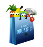 Organic food healthy. I Buy Healthy organic food label with cartoon vegetables and fruits Royalty Free Stock Photo