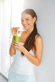 Organic Food. Healthy Eating Woman Drinking Detox Juice. Lifesty Royalty Free Stock Photos